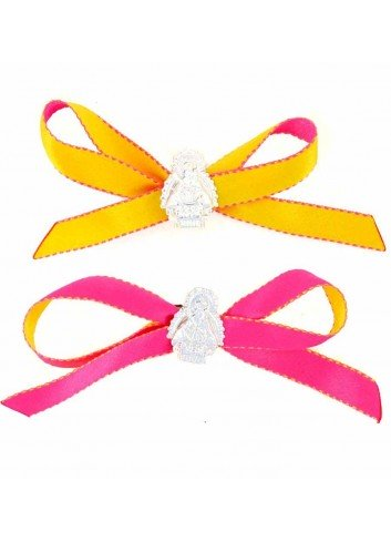 Medalla cuna Virgen Cabeza plata cinta amarilla o rosa