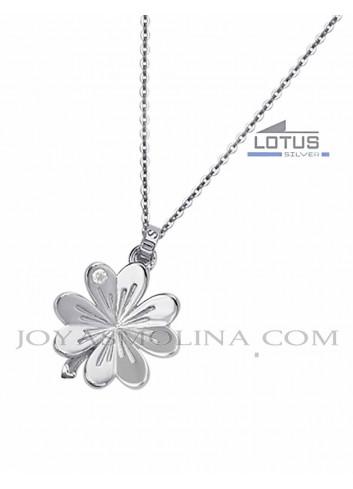Gargantilla Lotus Silver trébol de la suerte
