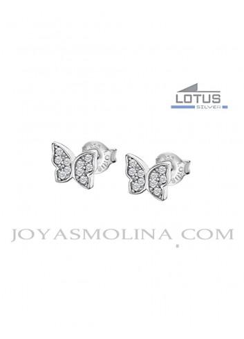 Pendientes Lotus plata mariposas circonitas