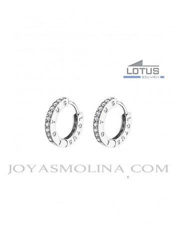Pendientes Lotus Silver aro cerrado con circonitas