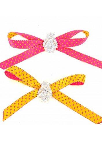 Medalla cuna Virgen Cabeza plata cinta lunares amarilla o fucsia