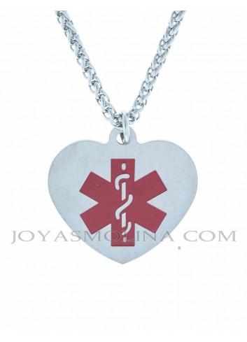 Colgante corazón placa alerta médica acero