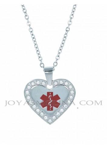 Colgante corazón cruz alerta médica acero