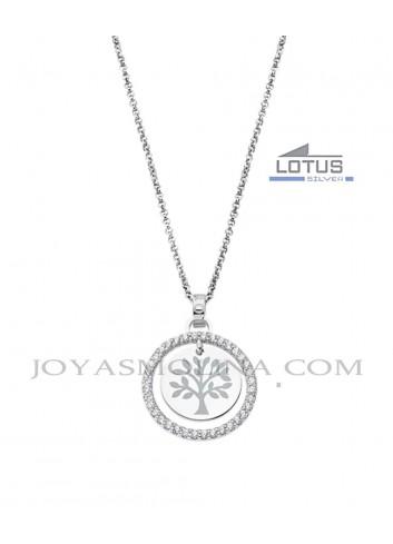 Gargantilla Lotus plata árbol de la vida círculo circonitas