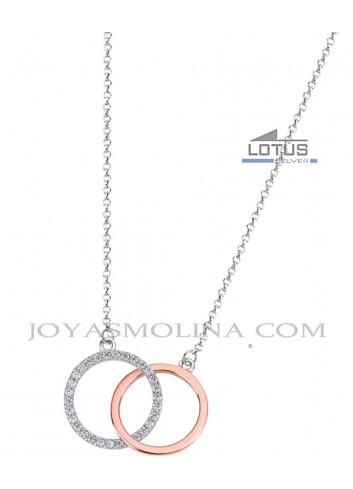 Gargantilla Lotus plata doble círculo rosé y circonitas
