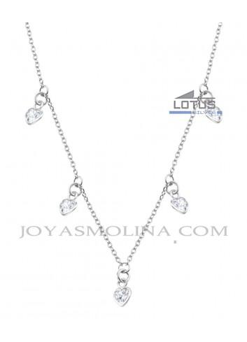 Gargantilla Lotus plata con colgantes en forma de corazón