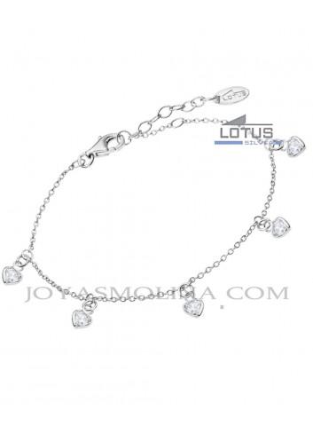 Pulsera Lotus plata colgantes corazón circonitas