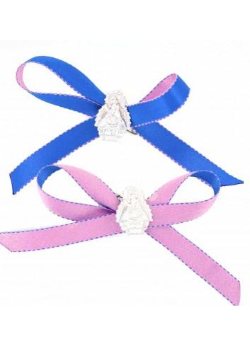Medalla cuna Virgen Cabeza plata cinta azul o rosa