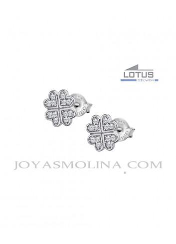 Pendientes Lotus plata trébol cuatro hojas circonitas