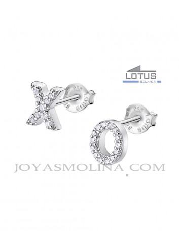 Pendientes Lotus plata X and O circonitas
