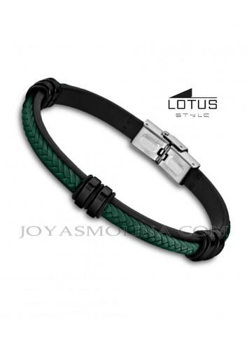 Pulsera Lotus cuero trenzado negro y verde