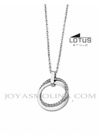 Gargantilla Lotus acero círculo unión