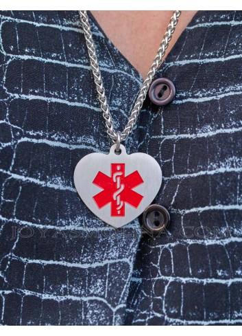 Colgante corazón placa alerta médica acero personalizado