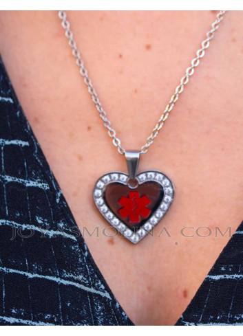 Colgante alerta medica corazon mujer