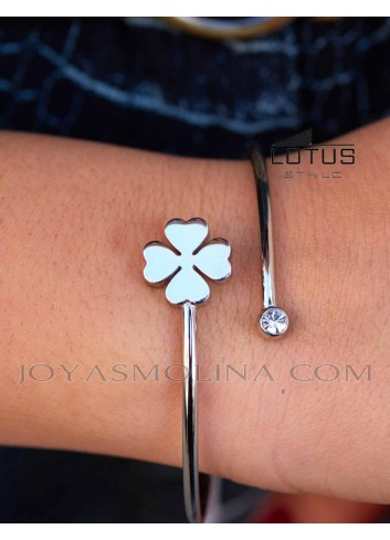 Brazalete Lotus Style acero trebol mujer muñeca