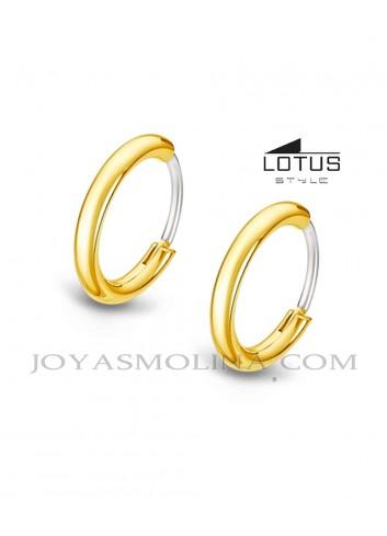 Aros Lotus Style acero dorados