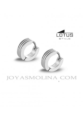 Pendientes Lotus Style acero plateado estriado