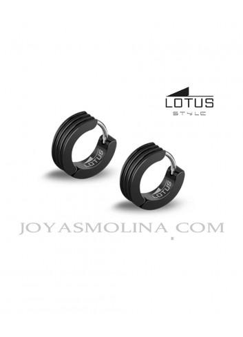 Pendientes hombre Lotus Style acero pavonado en negro estriado