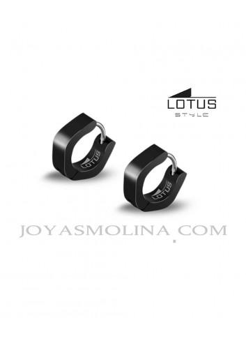 Pendientes aro hombre Lotus Style acero pavonado negro