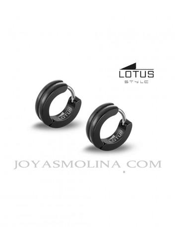 Pendientes aro hombre Lotus Style acero negro con linea