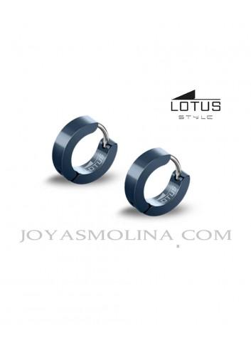 Aros planos hombre Lotus Style acero azul