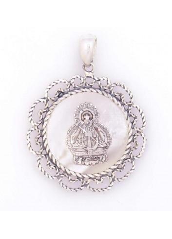 Medalla Virgen de la Cabeza plata rocalla redonda nácar