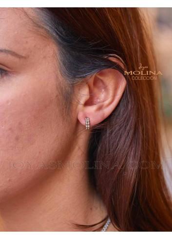 Pendientes plata aro bolitas mujer