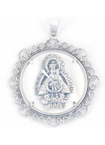 Medalla Virgen Cabeza plata nácar rocalla 52mm