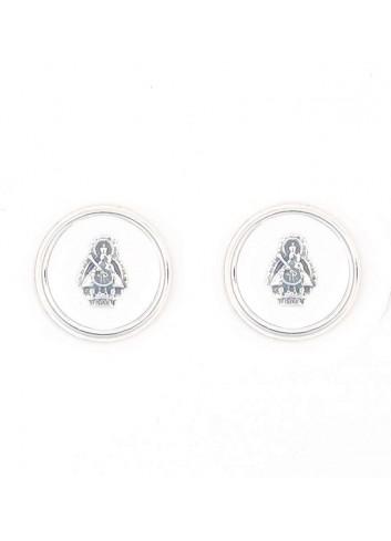 Pendientes Virgen Cabeza esmalte blanco redondo 14mm