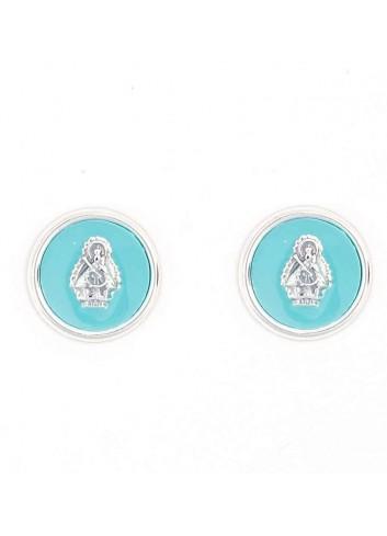 Pendientes Virgen Cabeza esmalte turquesa redondo presión 14mm