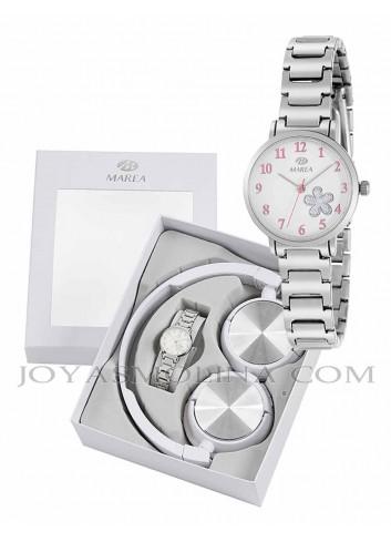 Reloj Marea niña cadena metálica flor con regalo