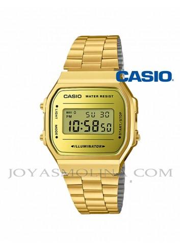 Reloj Casio digital dorado vintage reflejo espejo