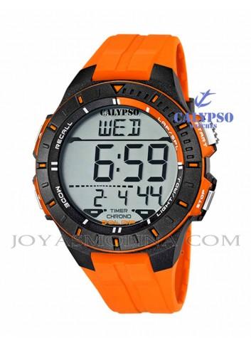 Reloj Calypso hombre o niño digital silicona naranja