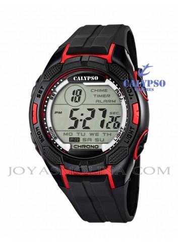 Reloj Calypso hombre o niño digital silicona negro y rojo