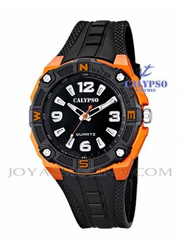 Reloj Calypso hombre o niño digital silicona negro y naranja