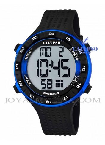 Reloj Calypso hombre o niño digital silicona negro y azul