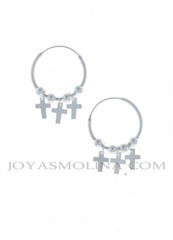 Pendientes aro con cruces