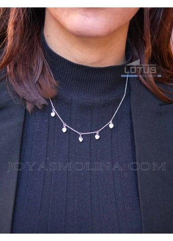 Colgante mujer moda plata corazones
