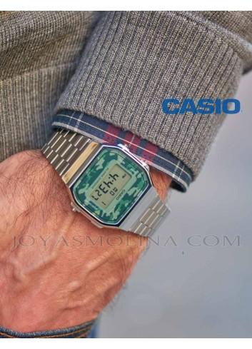 Reloj Casio digital plateado unisex camuflaje