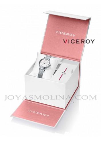 Reloj niña Viceroy cadena esfera blanca y rosa