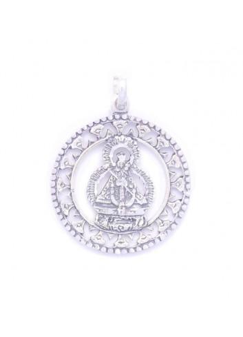 Medalla plata resplandor Virgen Cabeza bisel redonda espiga 32mm