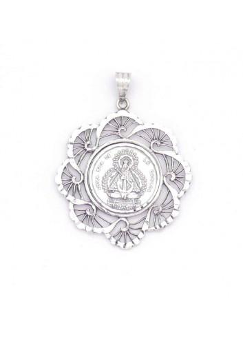 Medalla plata bisel abanicos con Virgen de la Cabeza