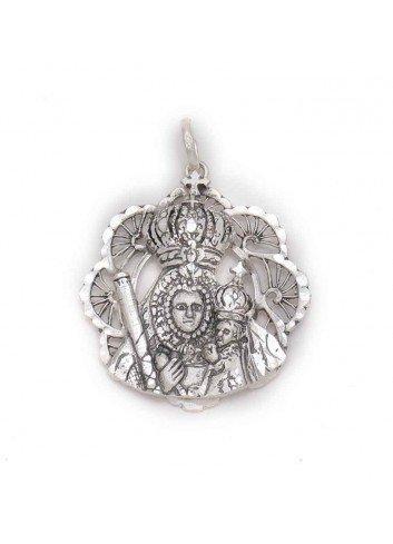 Medalla plata bisel abanicos con Virgen de la Cabeza y niño