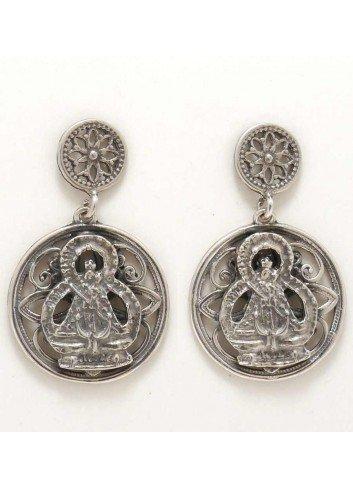 Pendientes Virgen de la Cabeza filigrana plata 2,1x3,4 circulos