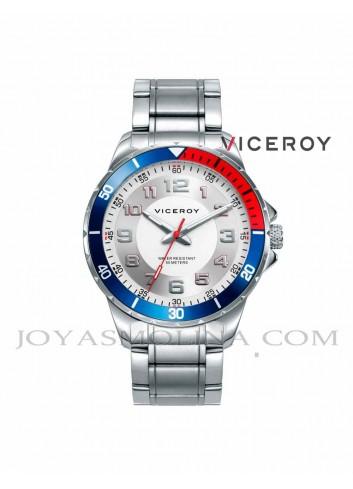 Reloj niño cadena metalica azul y rojo