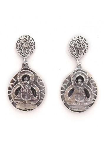 Pendientes Virgen de la Cabeza filigrana plata 1,7x3,4