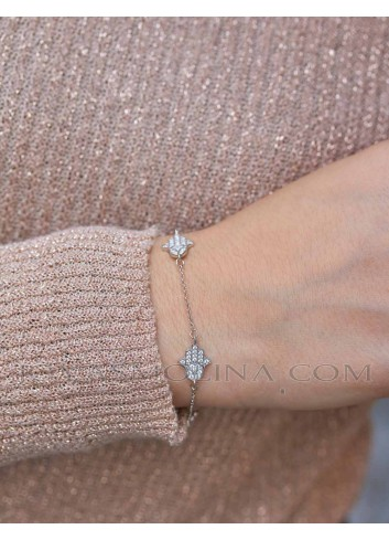 Pulsera mujer moda mano de fatima plata