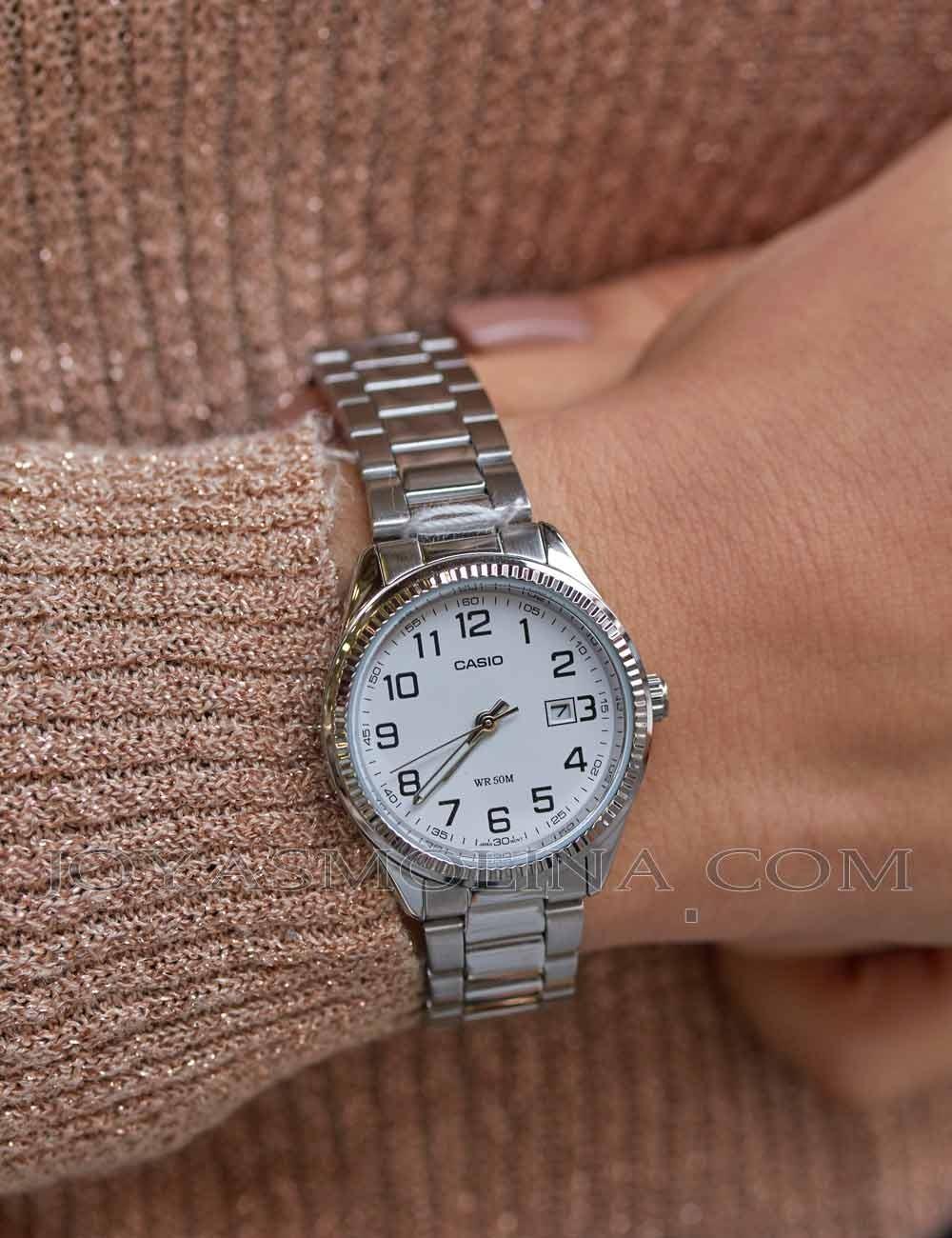 Reloj señora cadena acero esfera blanca