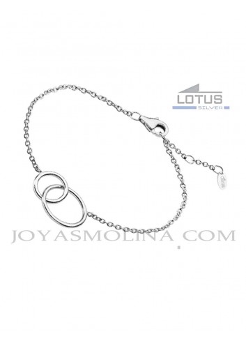 Pulsera Lotus plata doble circulo enlazado