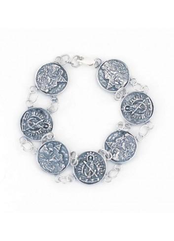 Pulsera Virgen Cabeza plata 7 monedas 1,9cm santuario